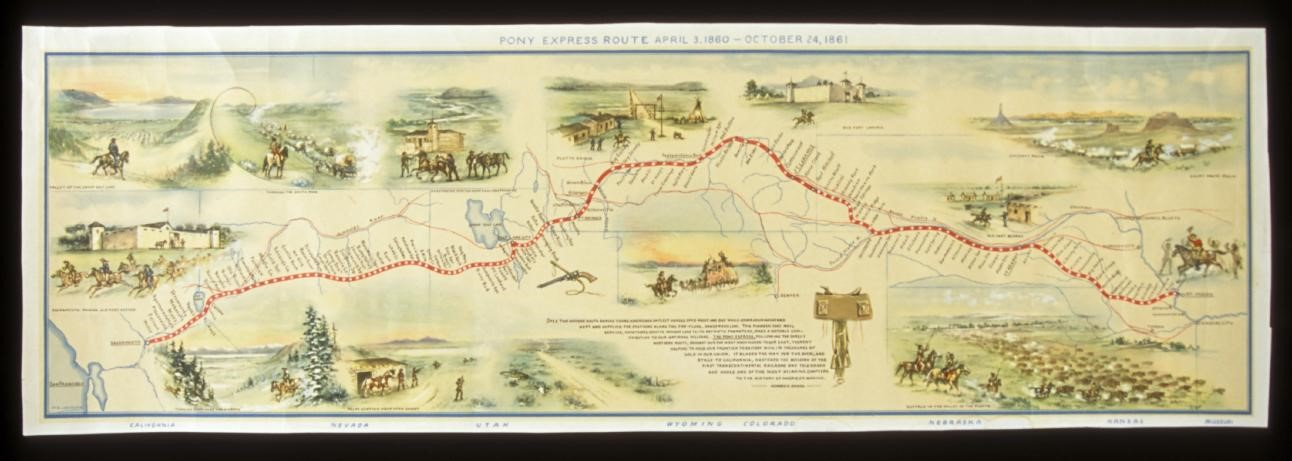 Map of Pony Express route, reproduction from original blue print by George Tresler, 1.69.17