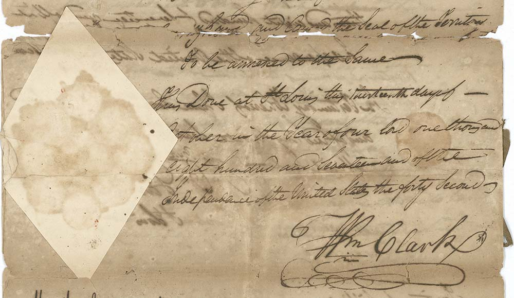 Detail of a document signed by William Clark, Governor of the Missouri Territory, 1813. MS331.01.01
