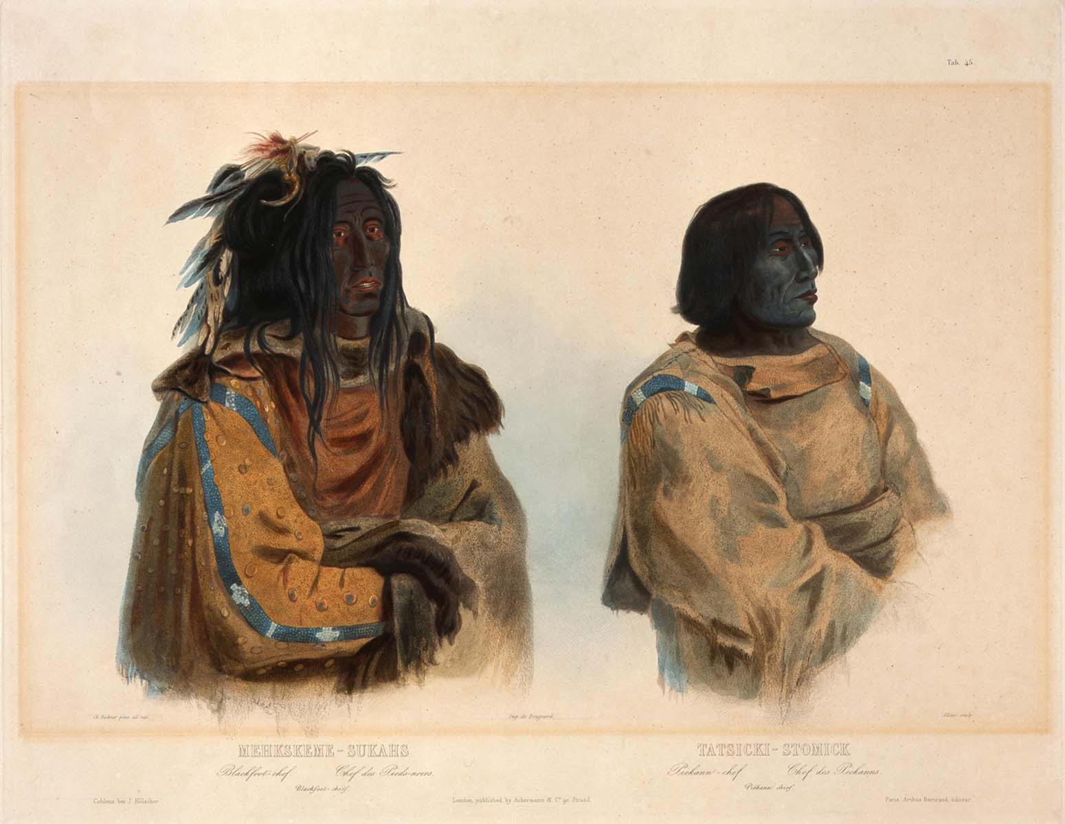 """Karl Bodmer (1809-1893). """"Blackfoot Chief and Piegan Chief,"""" ca. 1840-1842. Aquatint and engraving on paper. Gift of Clara S. Peck. 21.69.75"""