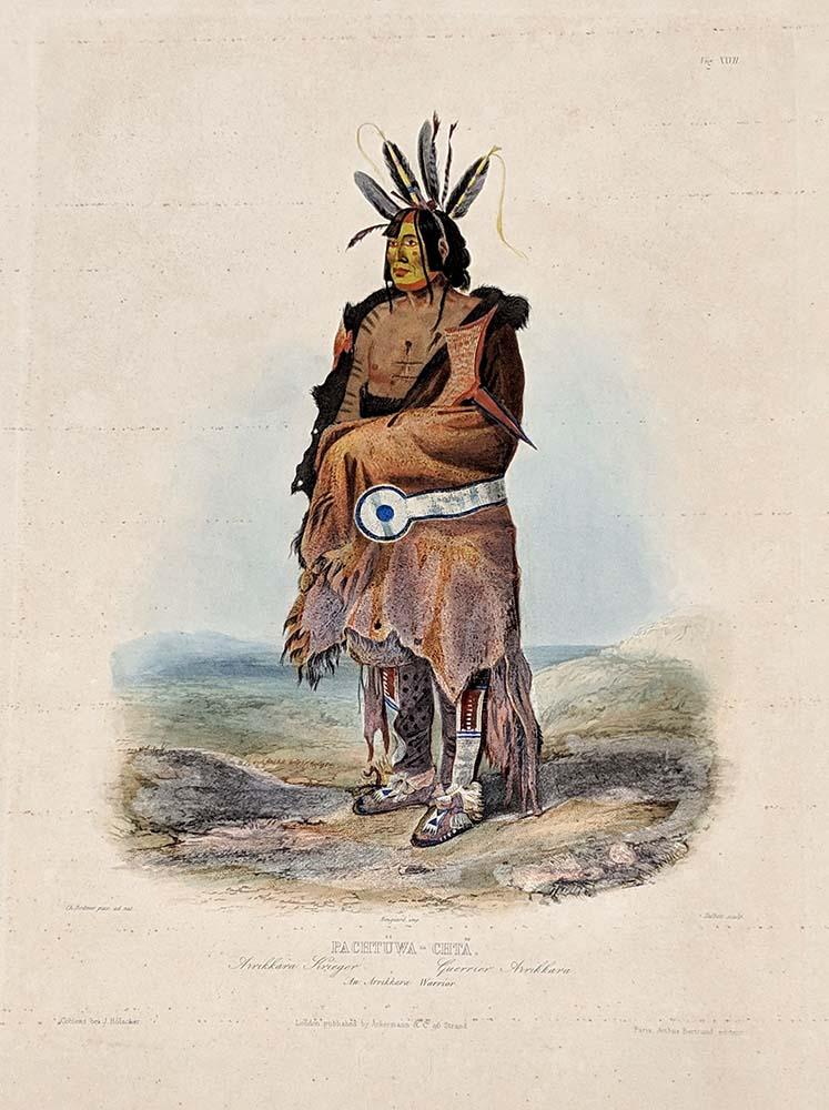 "Karl Bodmer (1809-1893). ""Pachtuwa-Chta./An Arrikkara Warrior,"" ca. 1840-1843. Aquatint print on paper. Gift of Clara S. Peck. 21.69.63"