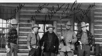 Left to right: Max Wilde, D.W. DeFoe, J. L. Wheeler, Ty Cobb, Tom Yawkey. Max Wilde was the guide, DeFoe and Wheeler were clients, Cobb was also a client but a baseball superstar and member of the Baseball Hall of Fame. Tom Yawkey was owner of the Boston Red Sox. MS 6 William F. Cody Collection, McCracken Research Library. P.69.609 (detail)