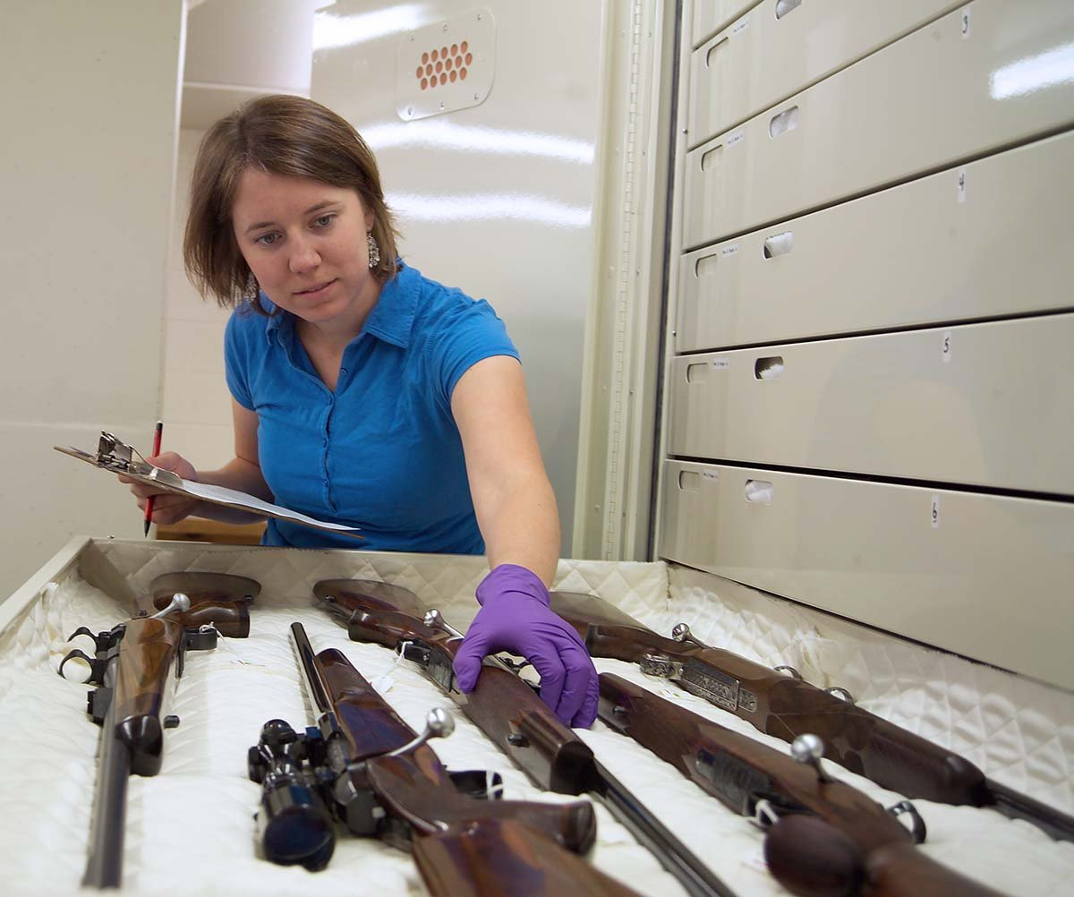 In 2007, intern Nelia Cromley spent considerable time in the firearms vault as she did research toward a master's degree in historical administration.