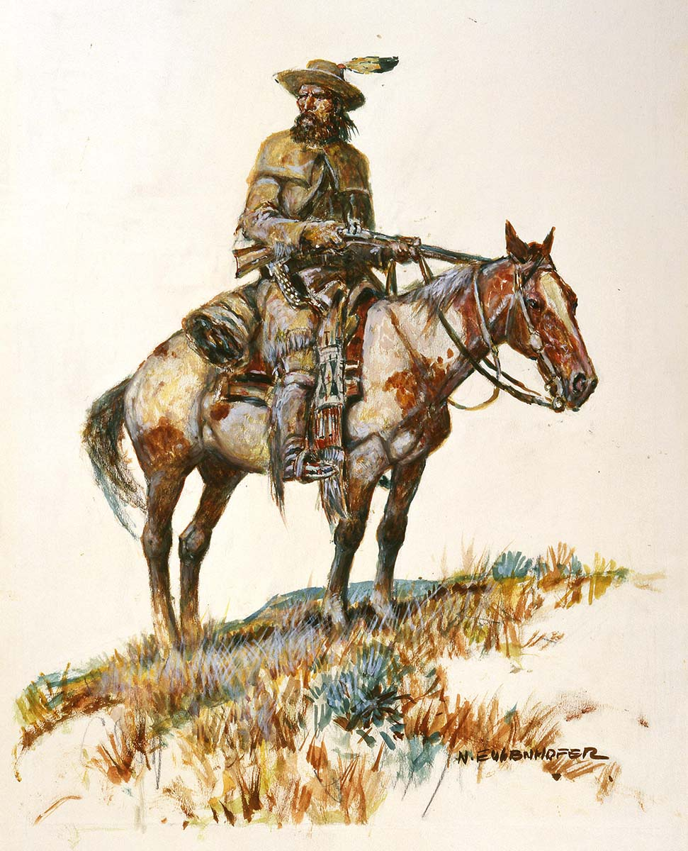 "Nick Eggenhofer (1897-1985). ""Trapper on a Pinto Horse,"" undated. Watercolor on strathmore. 24.70"