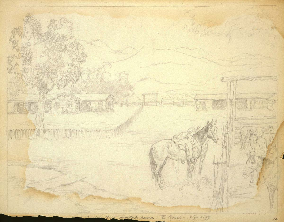 "Robert Farrington Elwell (1874-1962). ""At Home on the TE Ranch Near Cody, Wyoming,"" undated. Pencil drawing. 153.69.12."