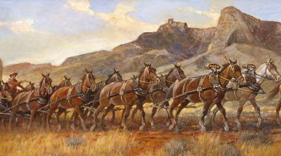 "Heart Mountain has always been a landmark to travelers in the Cody area. Nick Eggenhofer (1897-1985). ""Wyoming String Team c. 1880,"" 1966. Oil on canvas. Museum purchase. 2.66 (detail)"