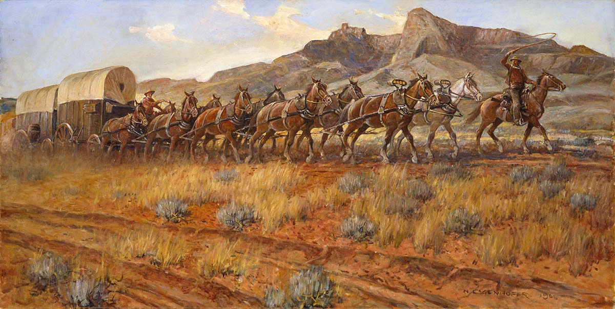 "Heart Mountain has always been a landmark to travelers in the Cody area. Nick Eggenhofer (1897-1985). ""Wyoming String Team c. 1880,"" 1966. Oil on canvas. Museum purchase. 2.66"