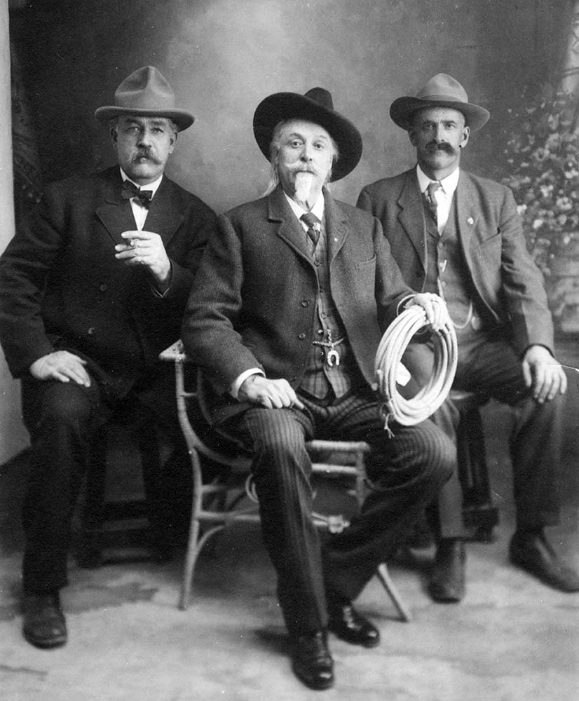 (L-R) Associates George Beck and William F. Cody, and Henry Fulton. 1905-1915. MS 006. William F. Cody Collection. P.6.267