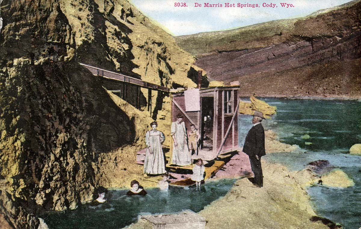 A postcard advertising Demaris Hot Springs at the mouth of the Shoshone River Canyon, 1910-1915. MS 006 William F. Cody Collection. P.6.1643.279