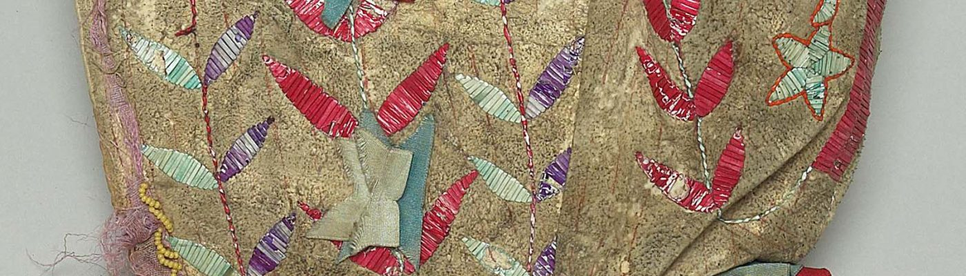 Sunbonnet, Dakota (Sioux), Northern Plains, ca. 1900. Tanned deer hide, dyed porcupine quills, glass beads, canvas, silk ribbons. Plains Indian Museum Collection. NA.202.94 (detail)