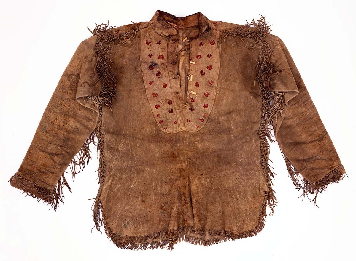 Items such as this give a sense of the artist's life. Buckskin shirt, ca.1885-1895. Tanned buckskin, embroidery, metal cones. Gift of the A. Phimister Proctor Museum with special thanks to Sandy and Sally Church. 1.69.5792.1