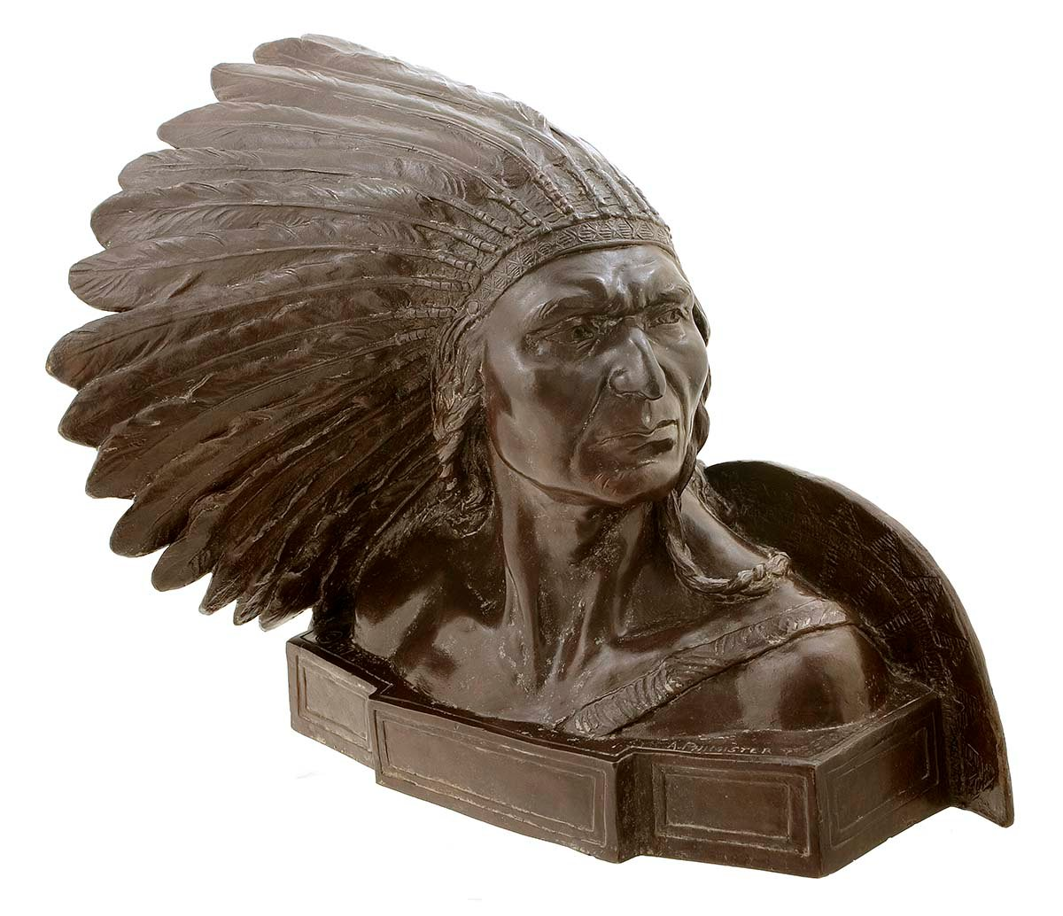 "Alexander Phimister Proctor (1860-1950). ""'Sundown,' Nez Perce's Chief,"" modeled 1916, cast initially 1917. Bronze, 11.5 x 12.5 x 10.5 inches. Gift of A. Phimister Proctor Museum, with special thanks to Sandy and Sally Church. 18.08.5"