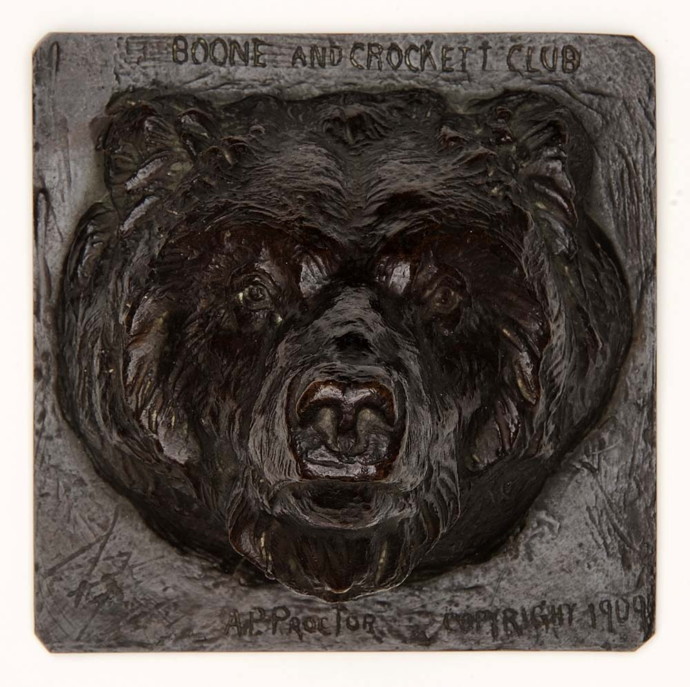 "Alexander Phimister Proctor, (1860-1950). ""Head of Brown Bear,"" modeled 1908, cast after 1929 (cast initially 1908). Bronze, 6 x 6 x 5 inches. Gift of A. Phimister Proctor Museum, with special thanks to Sandy and Sally Church. 4.08.6"