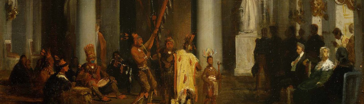 "Karl Girardet (1813-1871). ""Iowa Indians Performing their Dance before the King in the Galerie de la Paix at the Tuileries Palace (April 21, 1845)."" Oil on board. William E. Weiss Memorial Fund Purchase. 1.91"