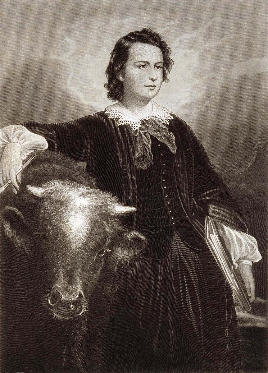 "Edouard-Louis Dubufe (1820-1883). ""Rosa Bonheur,"" after 1857. Engraving by Oliver Pelton. Gift of the Jack Rosenthal family, Casper, Wyoming 1993. 21.93"