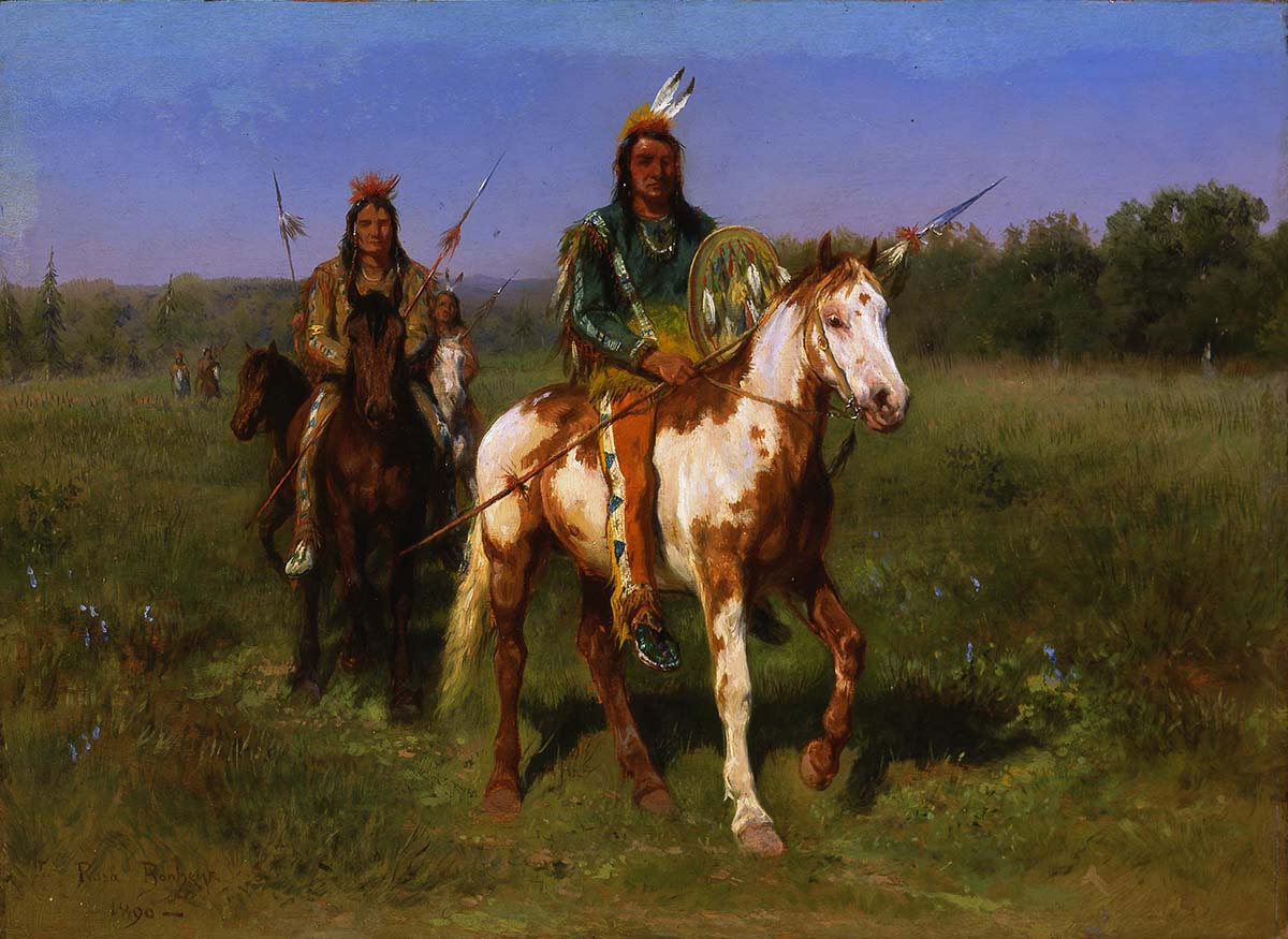 "Rosa Bonheur (1822-1899). ""Mounted Indians Carrying Spears, Rocky Bear and Red Shirt,"" 1890. Oil on board. Partial Bequest of Vernon R. Drwenski and Museum Purchase. 8.04.6"