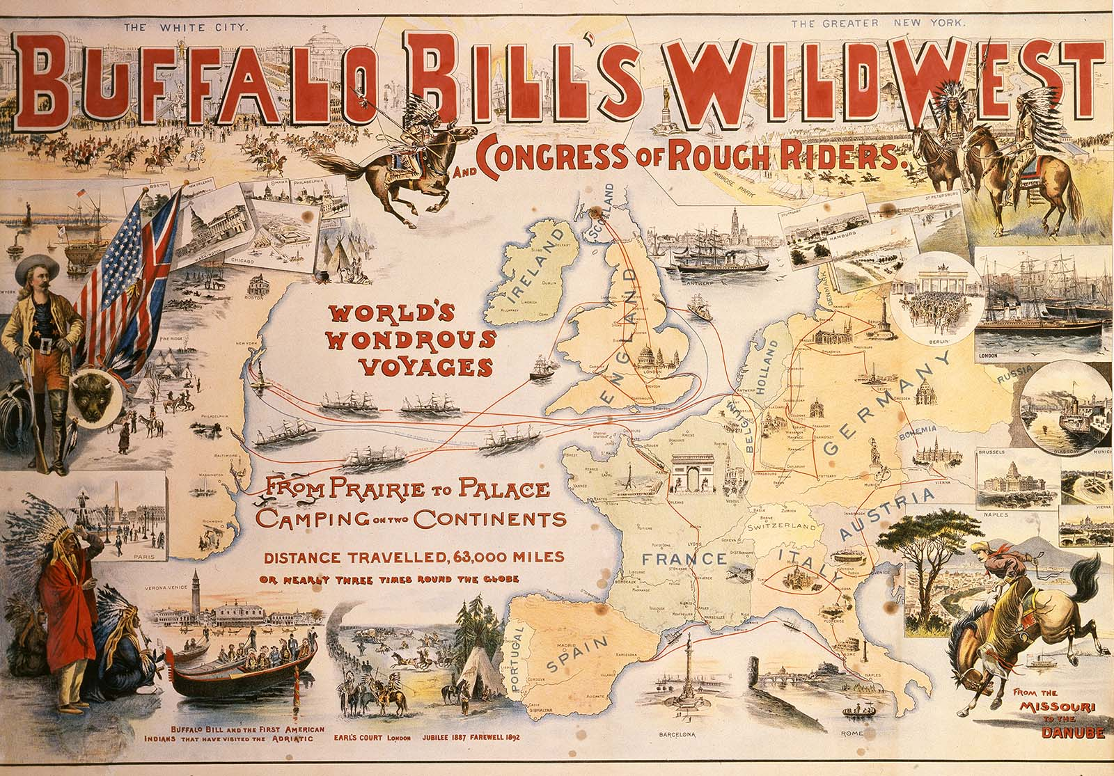 """Buffalo Bill's Wild West was one of the """"hottest tickets"""" in America and Europe, as this 1894 lithograph poster reveals. After its 1891-1892 visit to Glasgow, the Wild West returned to eager audiences in 1904. Gift of The Coe Foundation. 1.69.167"""