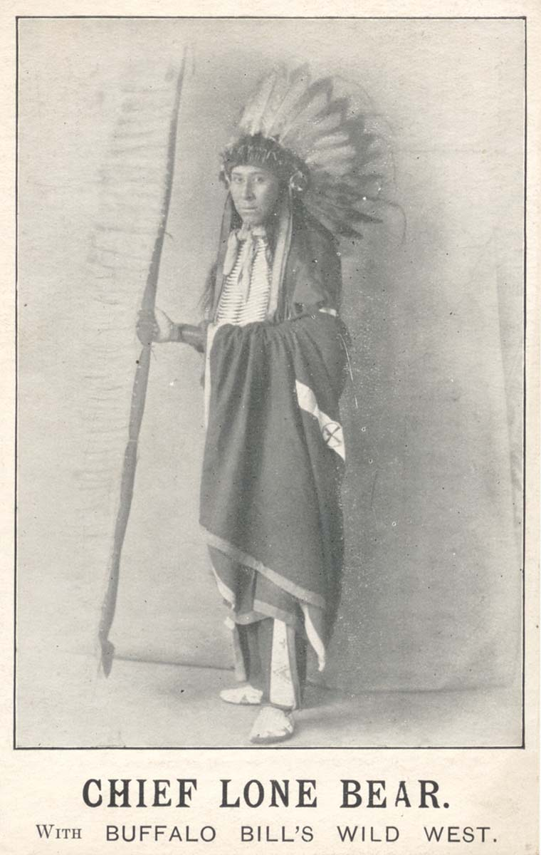 Chief Lone Bear, 1903-1904. Postcard. Image courtesy of author Tom Cunningham.