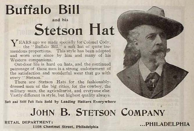 John B. Stetson ad featuring Buffalo Bill.