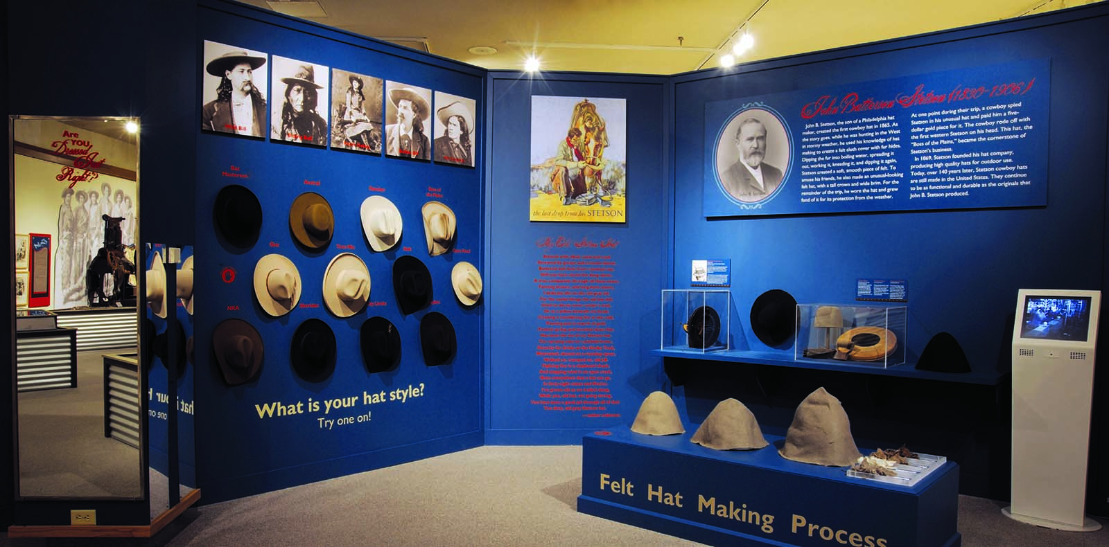 "Stetson exhibit in ""Dressed Just Right."""