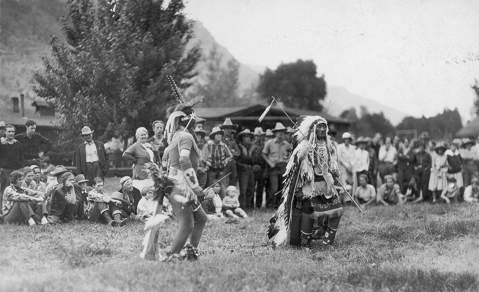 "Indians entertaining guests at Valley Ranch, southwest of Cody, Wyoming, ca. 1930. Gift of Irving H. ""Larry"" Larom Estate. MS 14 Irving H. Larom Collection, McCracken Research Library. P.14.1155.32"