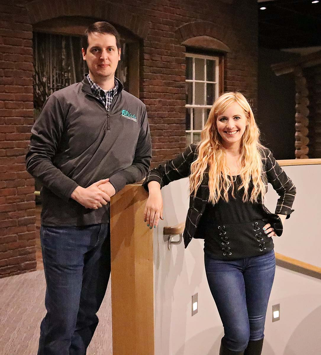 Danny Michael and Ashley Hlebinsky in the new Cody Firearms Museum as the renovation nears completion.