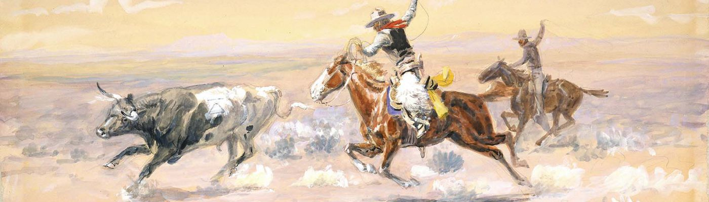 "C.M. Russell (1864-1926). ""Cowboys from the Bar Triangle,"" 1904. Watercolor on paper, 11 x 16 inches. Gift of William E. Weiss. 59.72 (detail)"