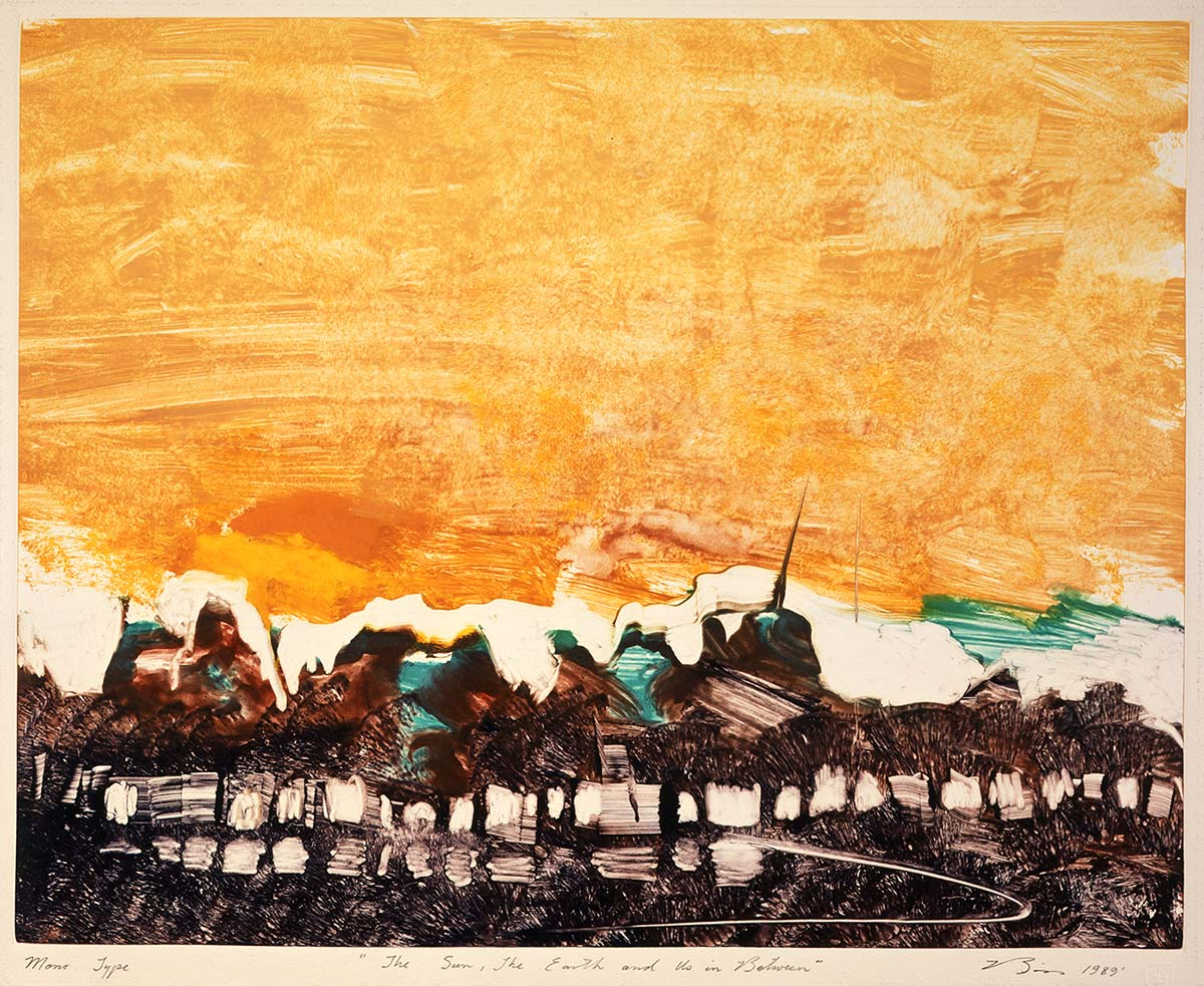 """Earl Biss, """"The Sun, The Earth, and Us in Between,"""" 1989. Monotype, 20 x 16 inches. Gift of Patricia Ann Prince, in loving memory of her husband, Walter Duquesne Prince, 1943-2006. 4.07.3"""