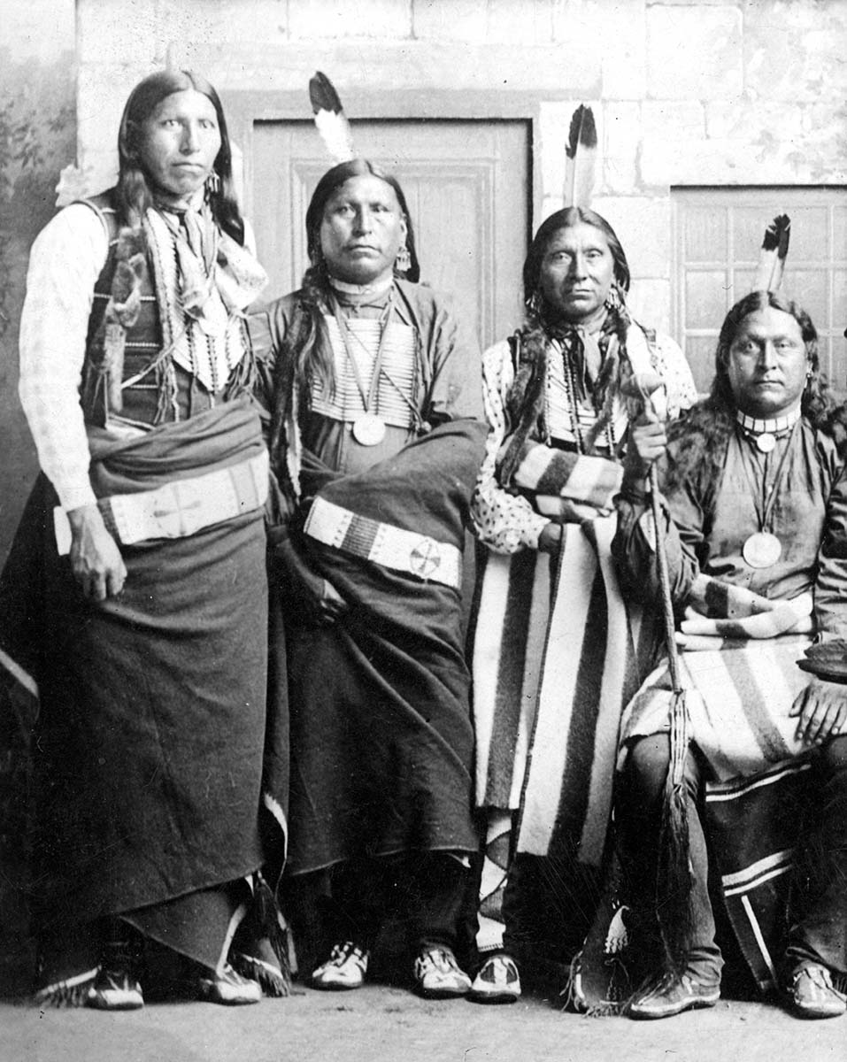 Pawnee men from the Pawnee Scouts. MS 35 North American Indian Photograph Collection. P.35.79