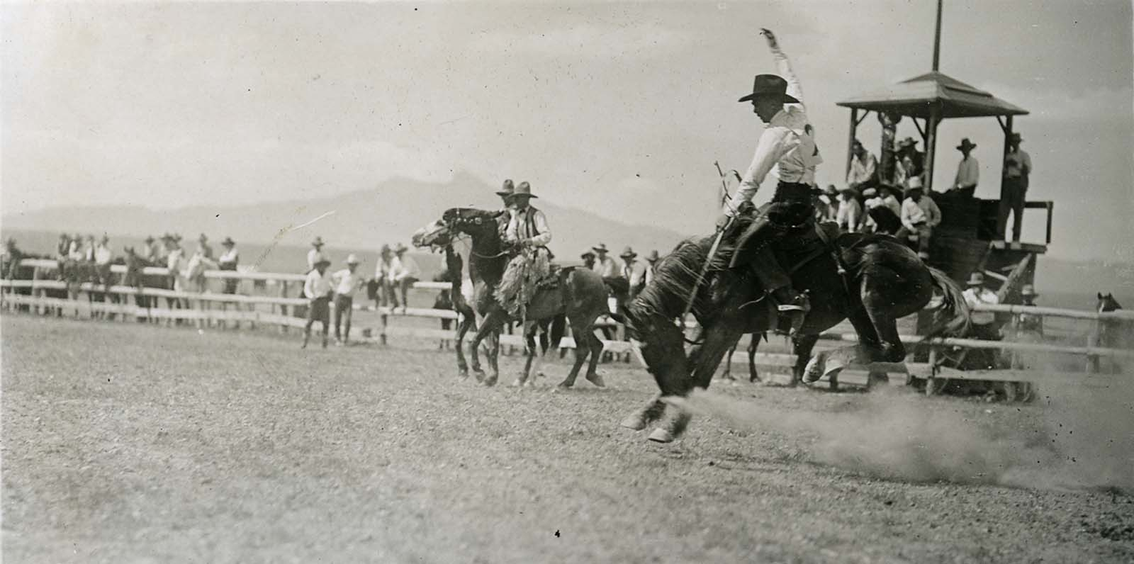 "Larry Redman on ""Headlight,"" Cody Stampede, ca. 1925. Photo courtesy the Park County Archives. P17-17-307"