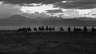 William Shepley photo. Owens Valley Horse Drive, California 1991; silver gelatin print. P.602.016 (detail)