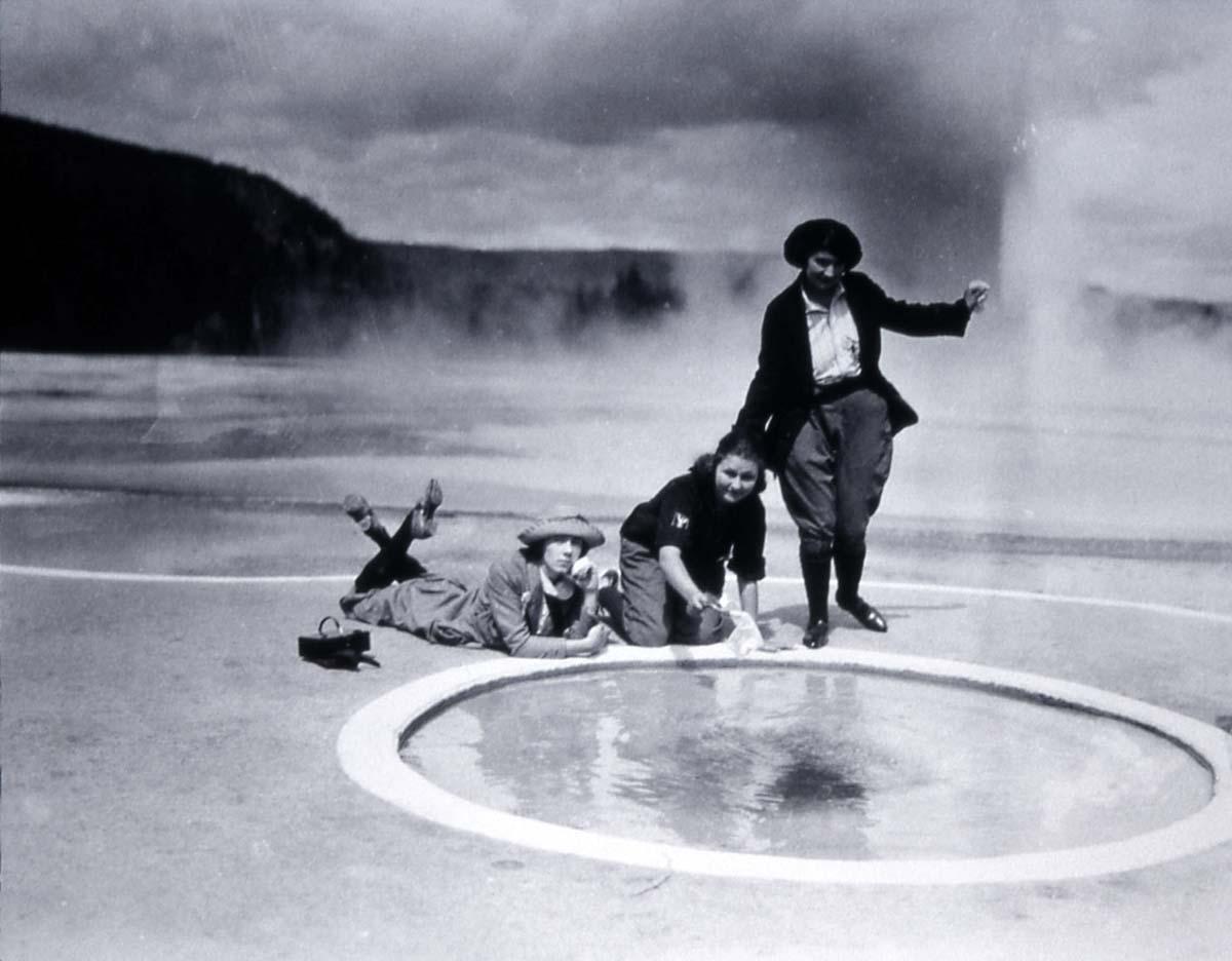 Visitors at Handkerchief Pool, Black Sand Basin, ca. 1923. NPS photo by Carl Shrim.