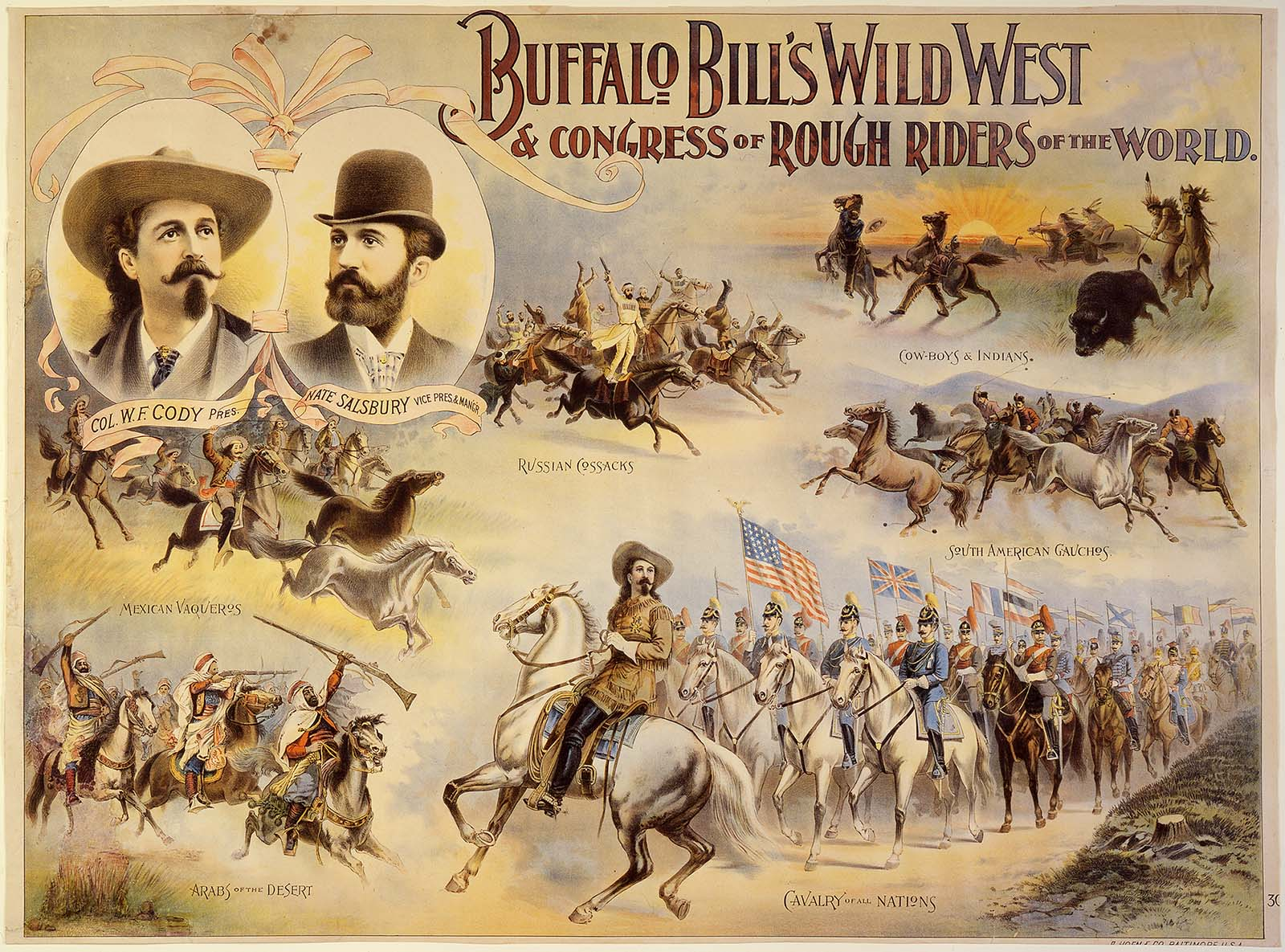 Buffalo Bill's Wild West and Congress of Rough Riders poster, ca. 1895, including Russians, Argentines, Arabs, cowboys, and Indians. A. Hoen & Company, Baltimore. Gift of The Coe Foundation. 1.69.170