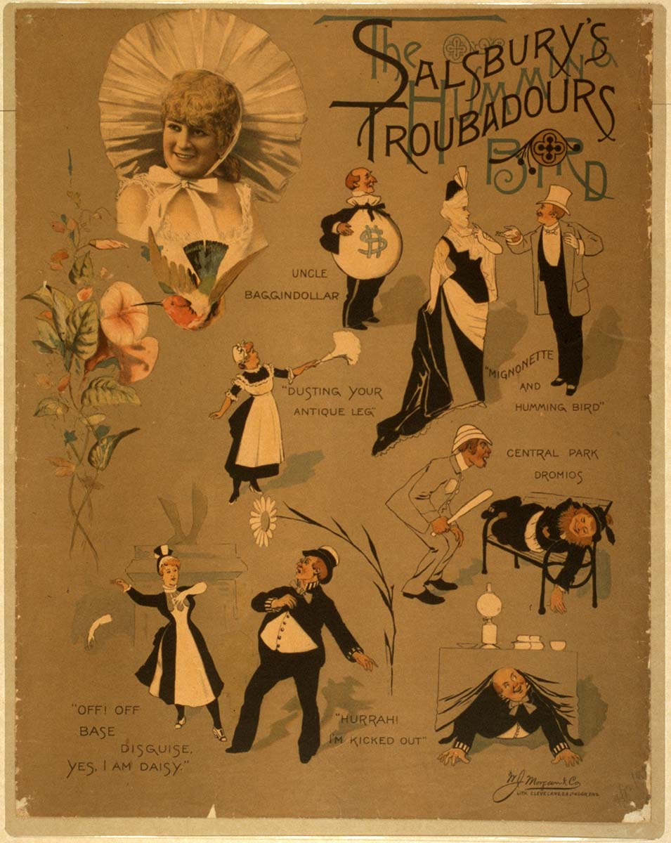 Salsbury's Troubadours color lithograph poster, 1889. Library of Congress Prints and Photographs Division Washington, D.C. 20540 USA. 2014635937
