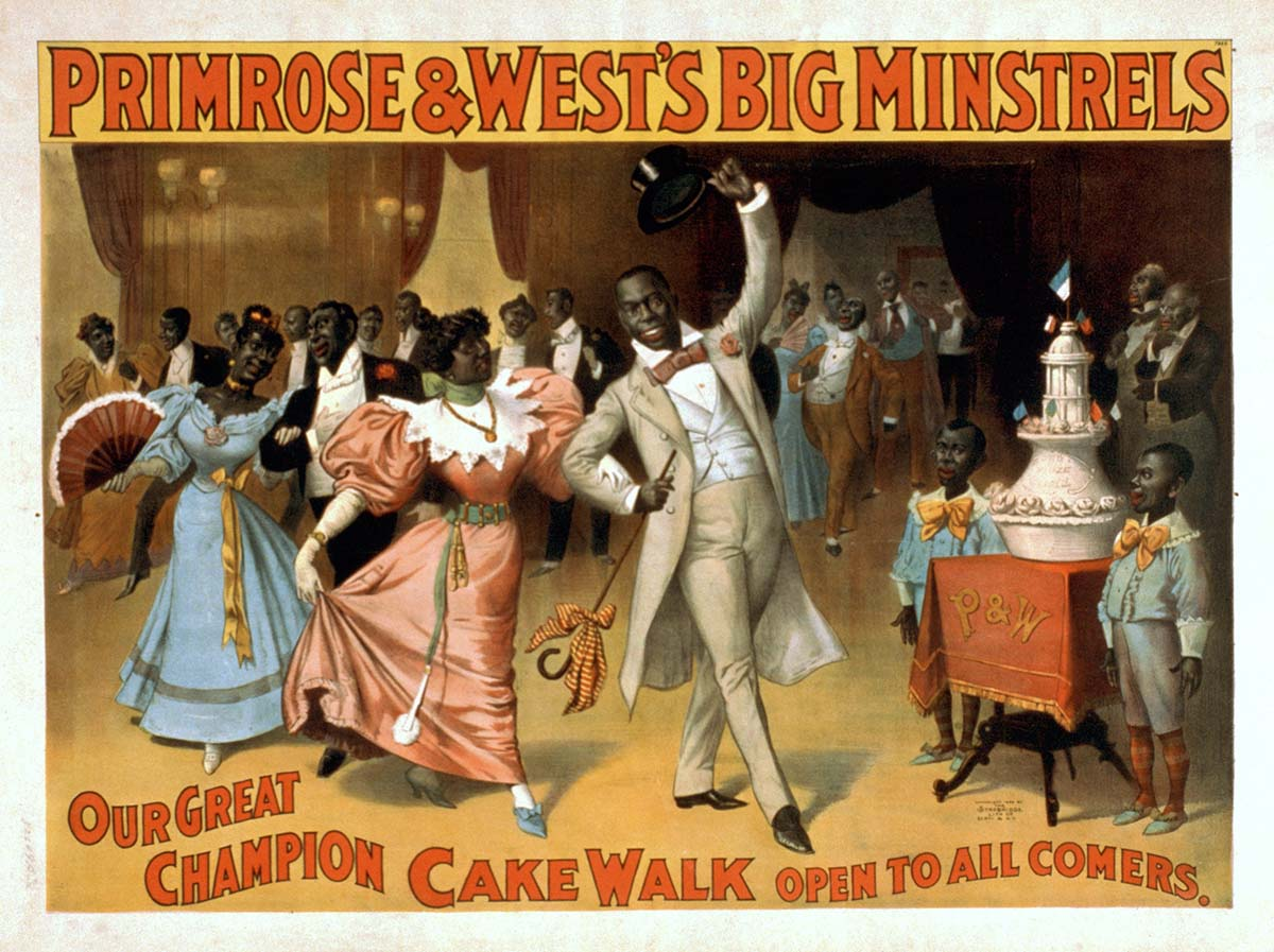 Primrose & West's Big Minstrels color lithograph poster featuring a cakewalk, ca. 1896. Library of Congress Prints and Photographs Division, Washington, DC 20540 USA. LC-USZC2-1773