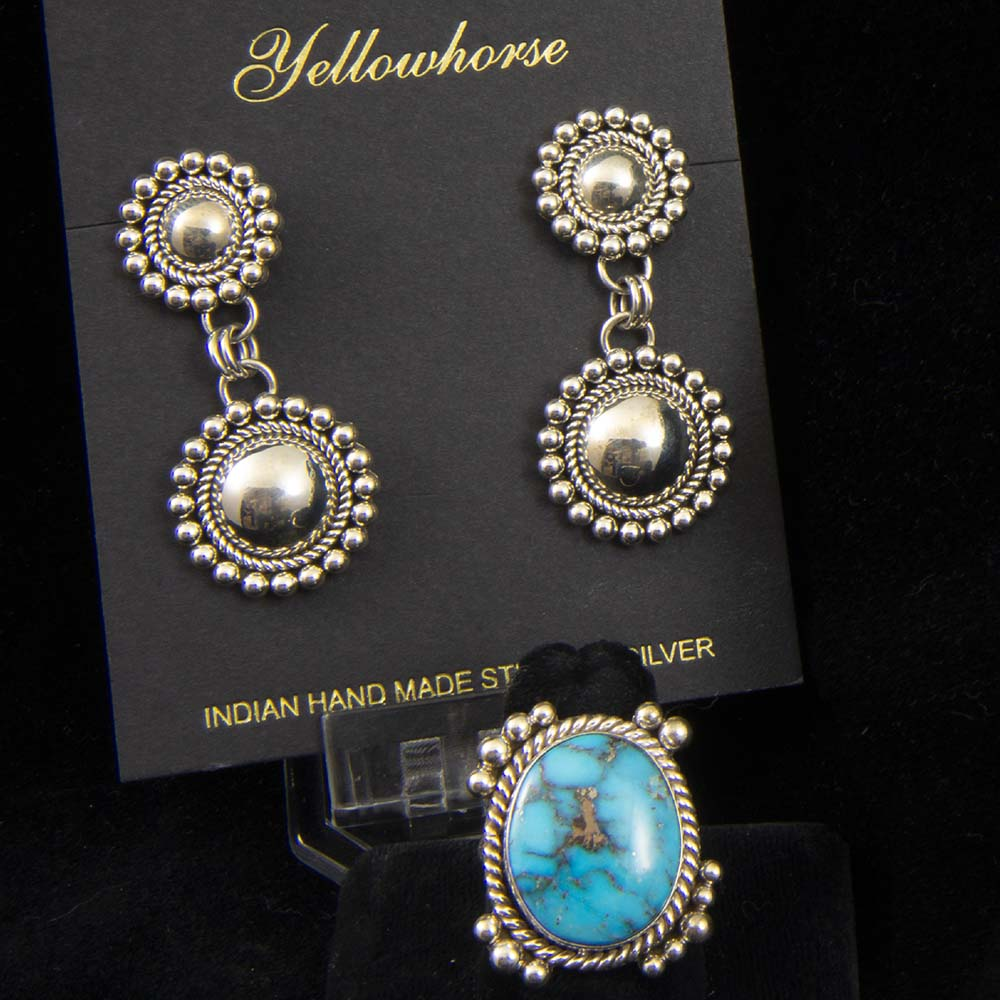 Turquoise earrings and ring, by Artie Yellowhorse