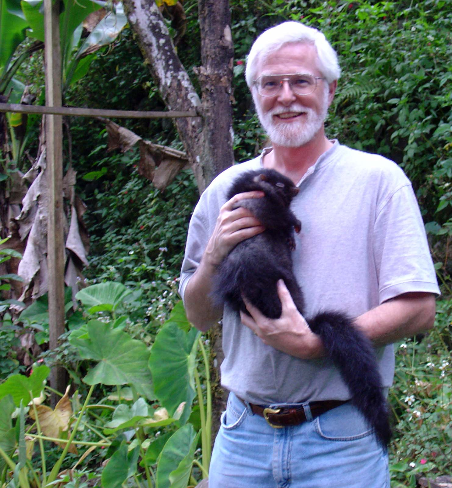 Lawrence Heaney with Crateromys, a genus of rodent native to the Philippines.