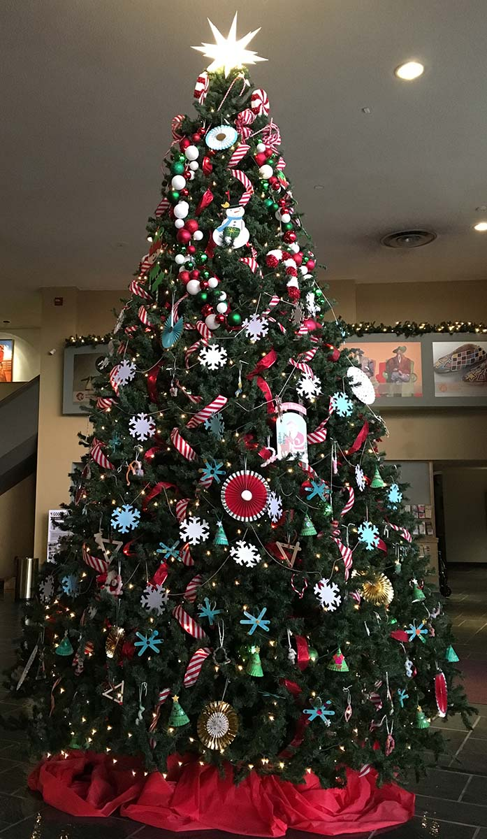 A 16-foot Christmas tree greets visitors to the Holiday Open House.