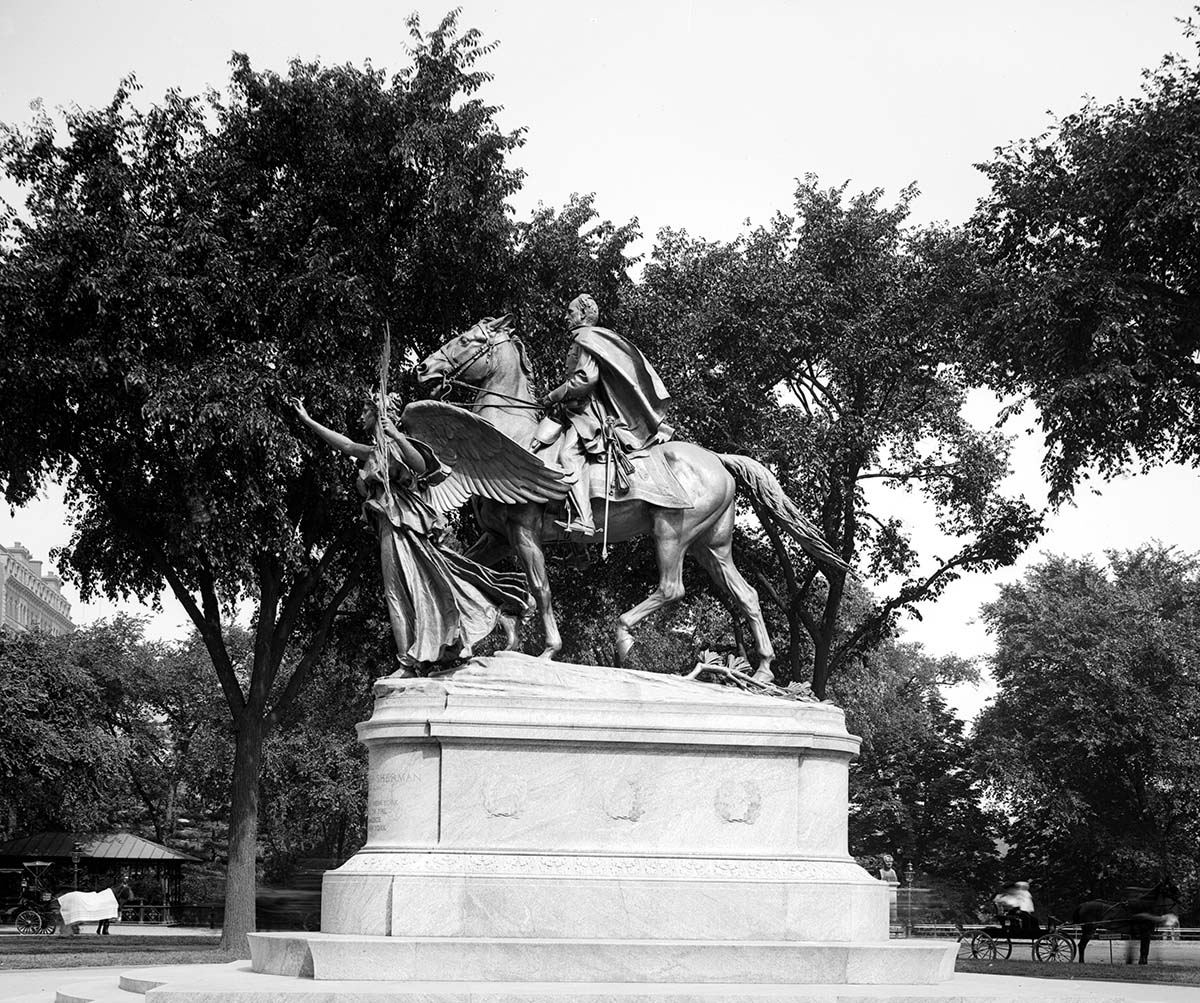 William Tecumseh Sherman monument, Central Park, New York City. Figures sculpted by Augustus St. Gaudens; horse sculpted by Alexander Phimister Proctor, 1903. Library of Congress Prints and Photographs Division Washington, D.C. 20540 USA. LC-D4-16684