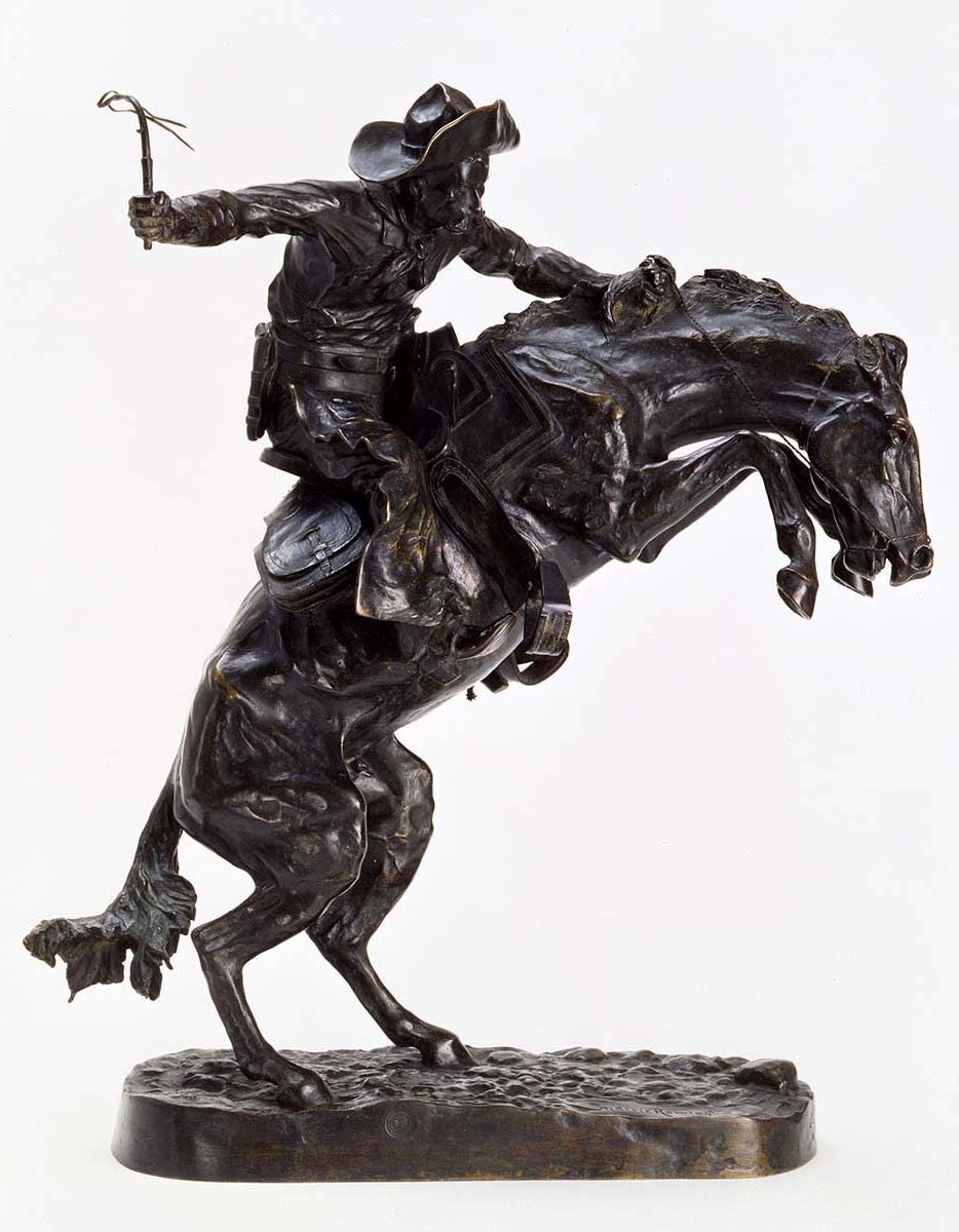 "Frederic Remington (1861-1909). ""The Broncho Buster,"" 1895. Gift of G.J. Guthrie Nicholson Jr. and son in memory of their father/grandfather G.J. Guthrie Nicholson, rancher at Four Bear, Meeteetse, Wyoming. 7.74"
