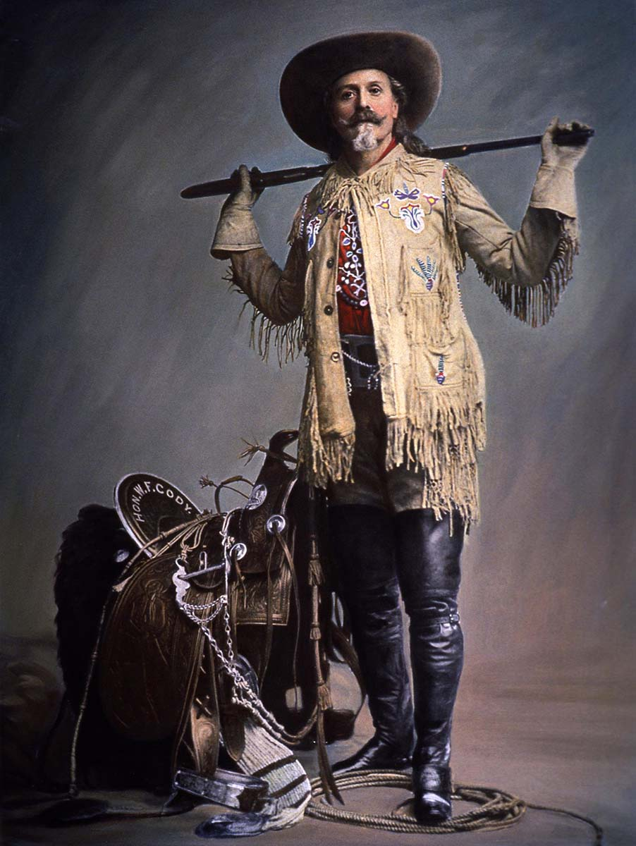"""William F. """"Buffalo Bill"""" Cody, ca. 1900. Photograph hand colored in 1958 by Adolf Spohr. Gift of Richard I. Frost. P.69.1483"""