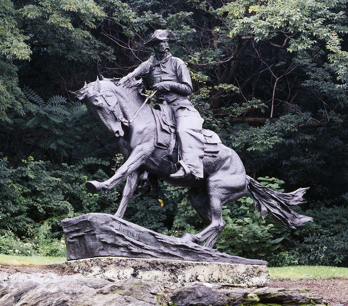 "Frederic Remington (1861-1909). ""Cowboy,"" 1908. Bronze. Owned by City of Philadelphia and Fairmount Park Commission. Library of Congress Prints and Photographs Division Washington, D.C. 20540 USA. Carol M. Highsmith Archive. LC-DIG-highsm-12287."