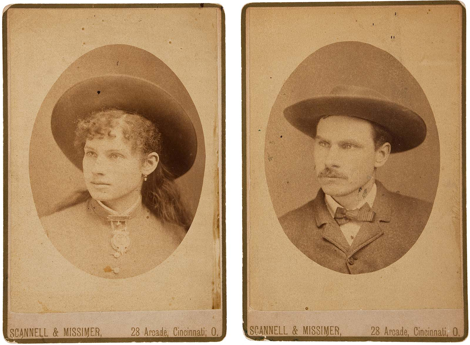 Cabinet photos of Phoebe Ann Moses-Butler, better known by her stage name Annie Oakley, and her husband, sharpshooter Frank E. Butler. Courtesy of Heritage Auctions, HA.com.
