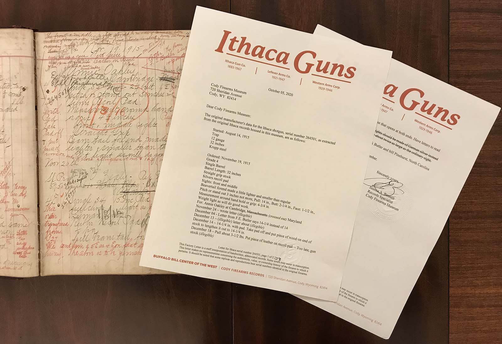 Record and factory letter for Annie Oakley's Ithaca