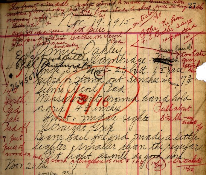 Ithaca's record for Annie Oakley's single-barrel trap gun, serial number 264501, shows communication with F. E. Butler regarding specific measurements for the gun.