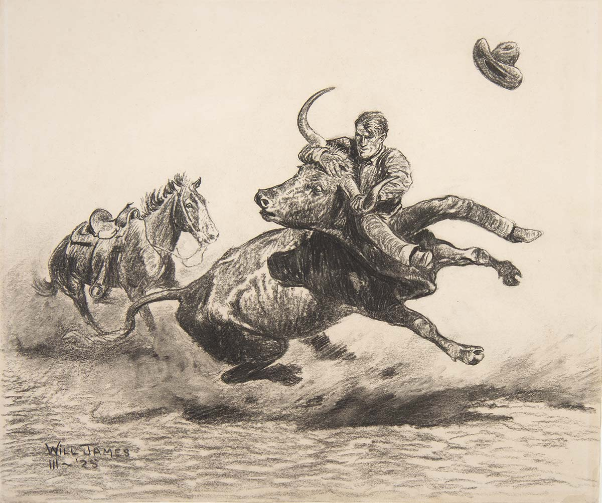 "Will James (1892-1942). ""Steer Wrestling,"" 1925. Charcoal and conte crayon on paper. Gift of David DeWitt Dominick in honor of Dr. DeWitt Dominick. 7.12.1"