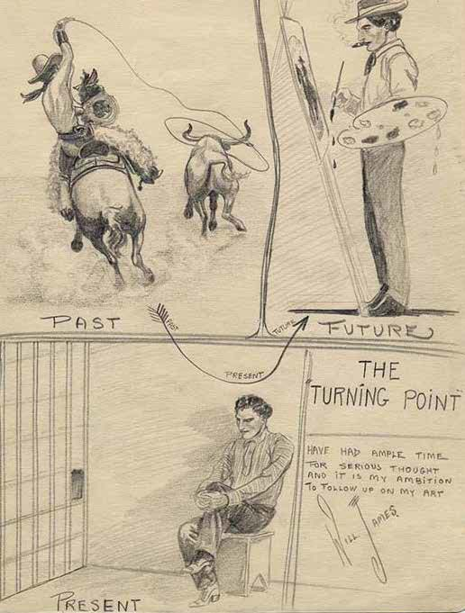 "Will James (1892-1942). ""The Turning Point,"" ca. 1915. Carbon pencil drawing. Papers of Will James, Collection No. NC579, Series 8: Artwork of Will James, Special Collections Department, University of Nevada-Reno Library."