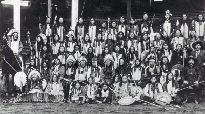 From this photograph of the Indians in Buffalo Bill's Wild West at Chicago in 1893, it's clear that Native Americans formed a large and integral part of the Wild West. If they hadn't been able to perform, the show would have suffered immensely. MS71 Vincent Mercaldo Collection. P.71.1563