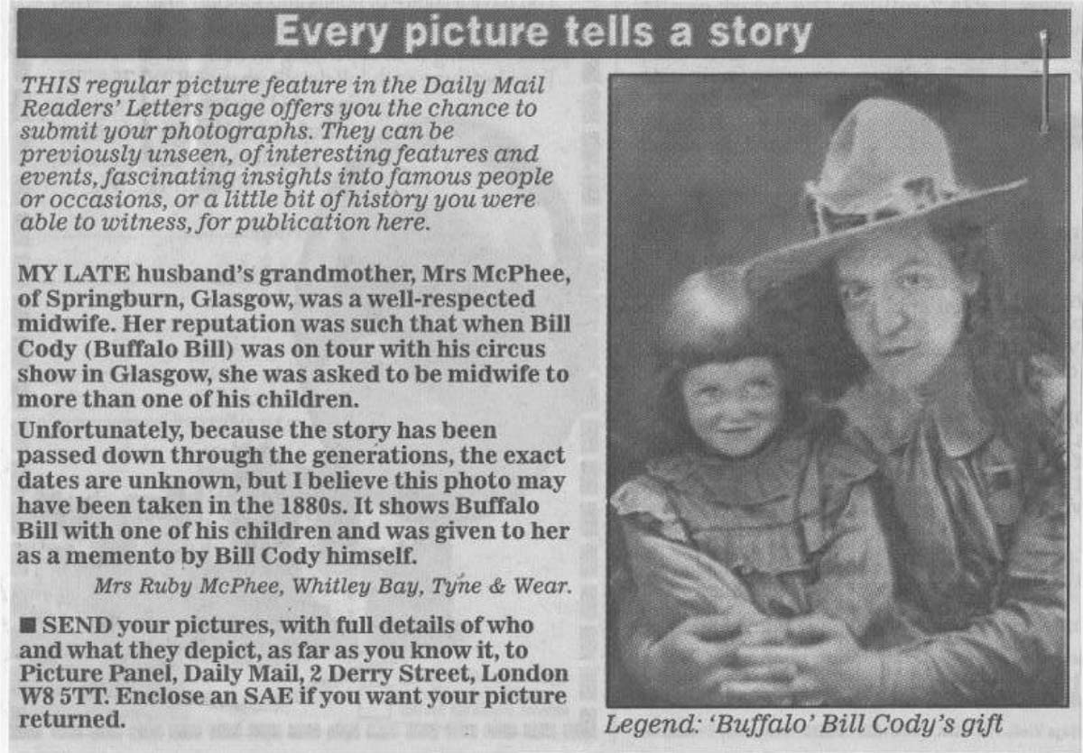 Every picture tells a story news clipping. Courtesy of the Bailey family of Rayleigh, Essex, UK. Montana Bill portrait. Courtesy of the Bailey family of Rayleigh, Essex, UK.