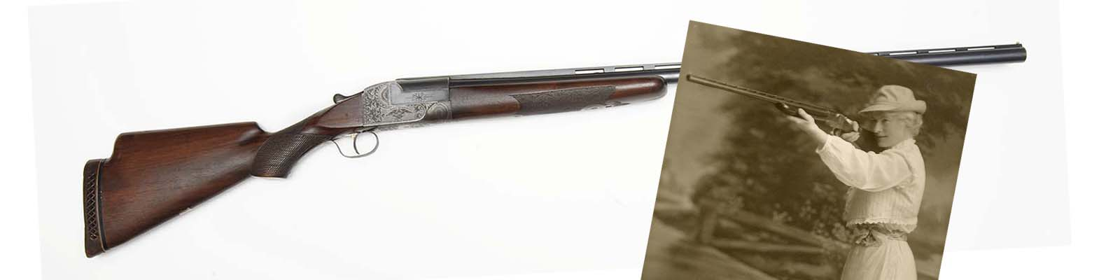 Ithaca Single Barrel Trap Gun, 12 gauge, Serial Number 264501, owned by Annie Oakley. Oakley with a rifle. 2008.10.1 and P.69.0932