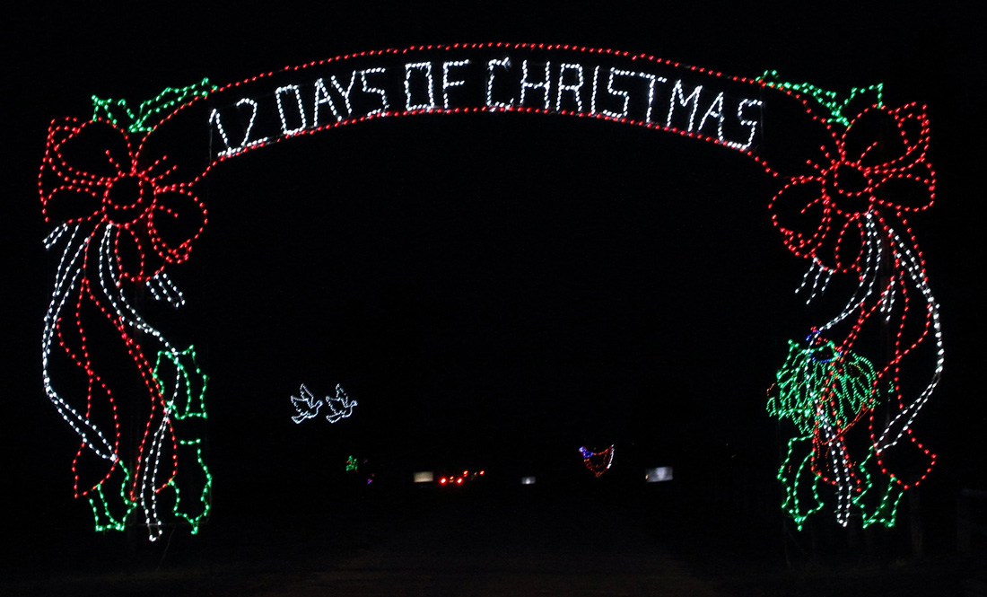 Christmas Lights showing 12 Days of Christmas in Fort Hood, Texas.